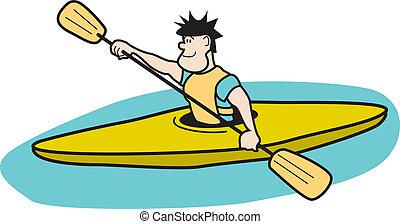 Kayaker Paddling In Boat Clip Art - Kayaker Paddling In Boat...