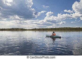 kayaker, sur, a, lac