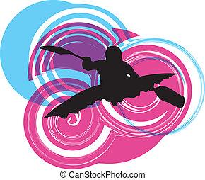 kayaking, 在, river., 矢量, illustrat