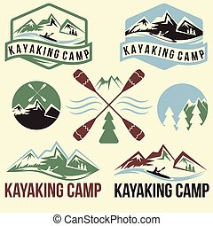 kayaking, acampamento, vindima, etiquetas, jogo