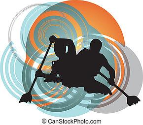 kayaking, alatt, river., vektor, illustrat