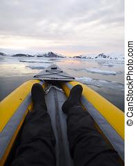 Kayaking Antarctica ice field vertical