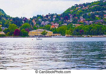 kayaking at lake como, italy