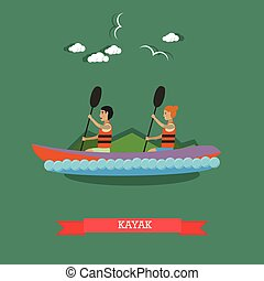Kayaking concept vector illustration in flat style.
