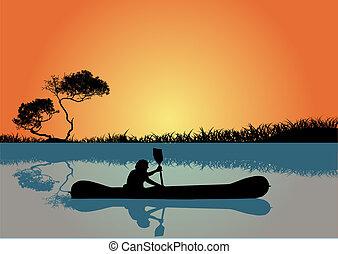 kayaking, coucher soleil, homme