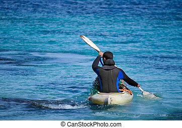 kayaking, em, karikari, península, nova zelândia