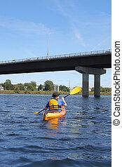 kayaking, en, el, río, en, fredericton