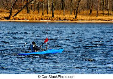 kayaking, en, invierno