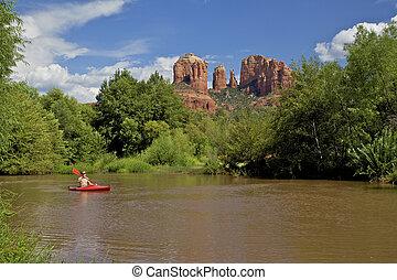 kayaking, en, roca roja, cruce