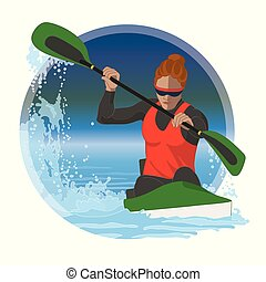 kayaking female in water racing with border circle in background