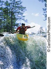 kayaking, giovane, cascata, uomo