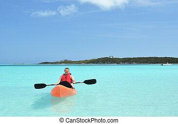 Kayaking. Great Exuma, Bahamas