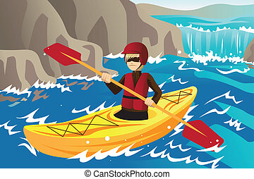 Kayaking - A vector illustration of a man kayaking in the...