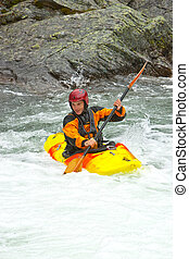Kayaking in Norway - Kayaking. Waterfalls in Norway. July ...
