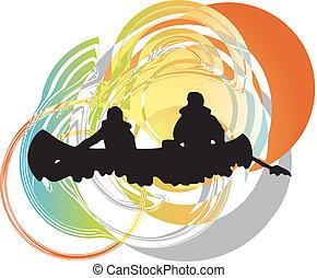 Kayaking in river. Vector illustrat