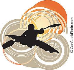 kayaking, in, river., vektor, illustrat
