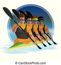 kayaking K4 team of four females paddling with circle of water in the background