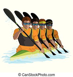 kayaking K4 team of four males paddling with water isolated on a white background