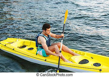kayaking, lac, homme, jeune