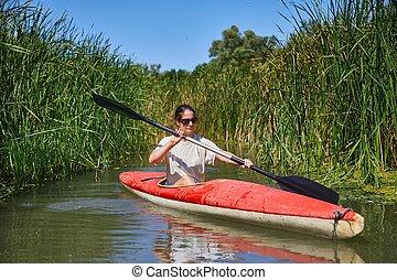 kayaking, ligado, a, rio