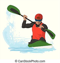kayaking male racing in water isolated on white background
