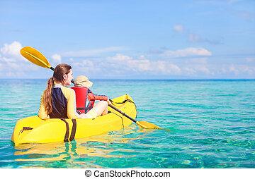 kayaking, mutter, sohn
