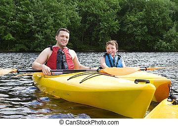 kayaking, ojciec, syn