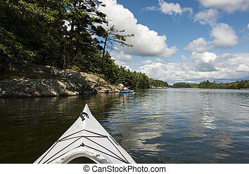 Kayaking on a Northern Lake