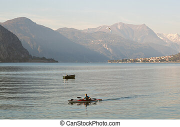 Kayaking on Lake Como at Lecco Italy