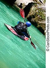 Kayaking on river