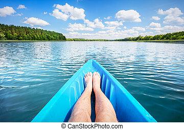 Kayaking on the lake.