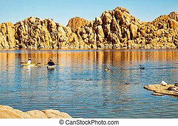 Kayaking on Watson Lake in Prescott Arizona - Couple of...