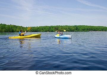 kayaking, pai, filho