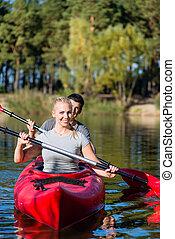 kayaking par, feliz