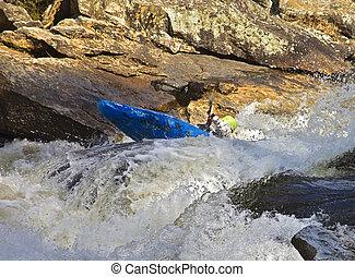 kayaking, rivière, rapides