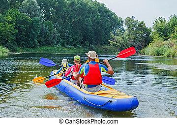 kayaking, rzeka, rodzina