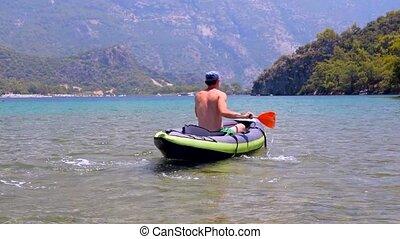 kayaking, sea., homme, jeune
