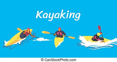 kayaking, set, illustrazione
