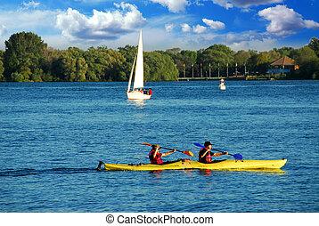 kayaking, su, uno, lago