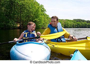 kayaking, vater, sohn