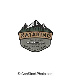 Kayaking vintage badge. Mountain explorer label. Outdoor adventure logo design. Travel and hipster insignia. Wilderness, forest camping emblem. Outdoor adventure logo template. Stock vector sticker