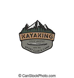 Kayaking vintage badge. Mountain explorer label. Outdoor adventure logo design. Travel and hipster insignia. Wilderness, forest camping emblem. Outdoor adventure logo template. Stock sticker