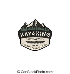 Kayaking vintage badge. Mountain explorer label. Outdoor adventure logo design. Travel and hipster insignia. Wilderness, forest camping emblem. Outdoor adventure logo template. Stock