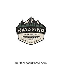 Kayaking vintage badge. Mountain explorer label. Outdoor adventure logo design. Travel and hipster insignia. Wilderness, forest camping emblem. Outdoor adventure logo template. Stock vector