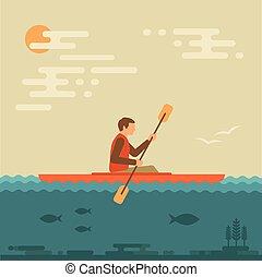 kayaking water sport, - kayak vector illustration, kayaking...