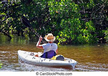 Kayaking - Woman In Kayak Darling Wildlife Refuge Sanibel ...
