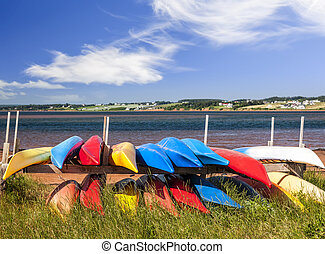 Kayaks at Atlantic shore in Prince Edward Island