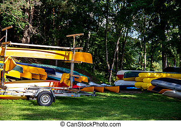 Kayaks for rent near to the river. - Canoe boats rental....