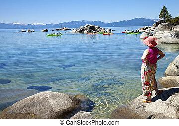 Kayaks in Lake Tahoe, California.