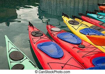 Kayaks in Multiple Color Float Marine Harbor - Red Teal...